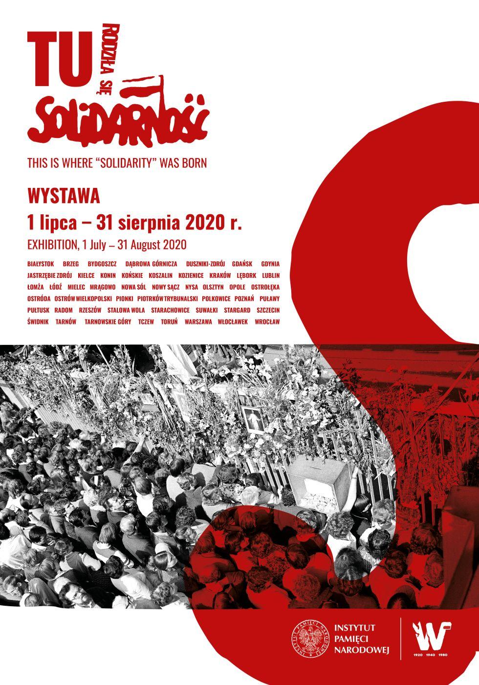 """plakat promujący wystawę """"Tu rodziła się Solidarność"""""""