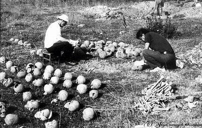 Ekshumacja ofiar z mogił zbiorowych w Woli Ostrowieckiej pow. lubomelski na Wołyniu, 1992 r. Fot. AIPN
