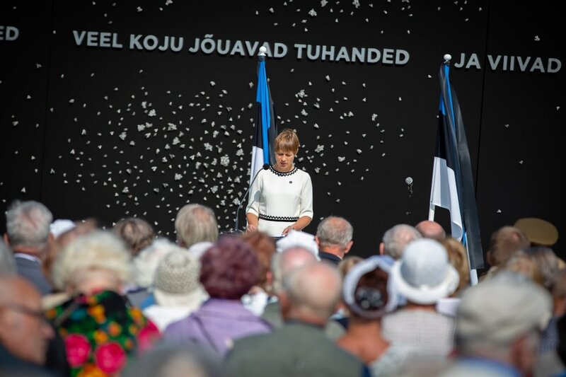 President of Estonia at the opening of the memorial to the victims of Communism, Tallinn, Estonia