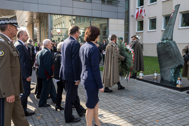 After the official part, the participants of the summit laid a wreath at the monument to the Victims of the Smolensk Catastrophe, located in front of the Marshal Office in Rzeszów - 18 October 2018. Photos: Sławek Kasper (IPN).