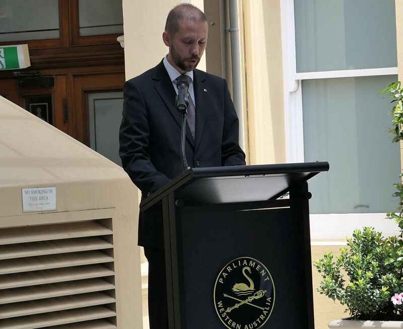 "Michał Kołodziejski, the Ambassador of Poland to Australia. The opening of the ""Time for Heroes"" exhibition in the Western Australian Parliament in Perth - 9 November 2018"