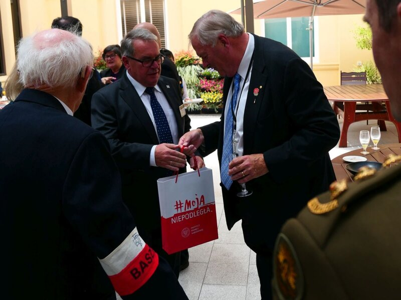 "On the right, the governor of Western Australia, Kim Beazley. The opening of the ""Time for Heroes"" exhibition in the Western Australian Parliament in Perth - 9 November 2018"