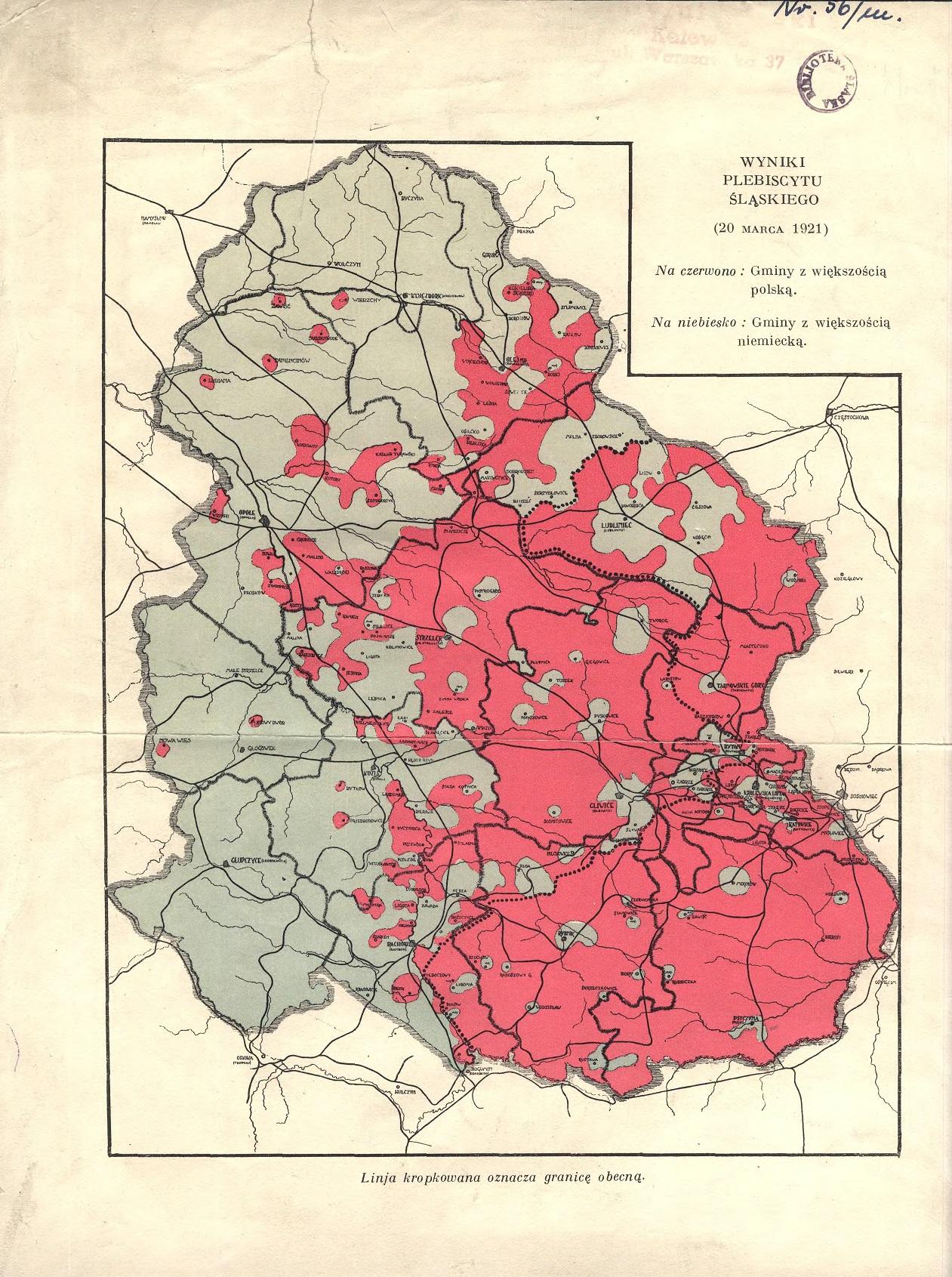 Mapa ukazująca wyniki plebiscytu liczone gminami (zbiory Archiwum Państwowego w Katowicach)